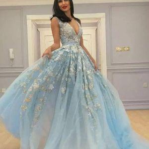 Vestidos elegantes Arabisch Abendkleider Kleider plus size prom dresses long 2019 deep v neck lace appliques formal special occasion dresse