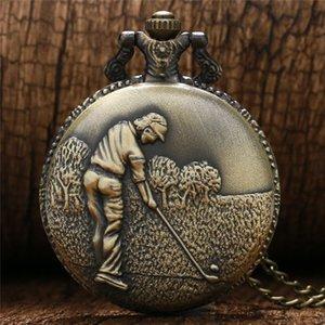 Bronze Antigo 3D Golf Homem Poket Relógio Homens Menino Relógio de Quartzo Relógio de Exibição Analógico com Colar Longo Cadeia Relógios reloj de bolsillo