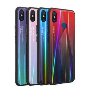 Para Xiaomi Mi 8 Lujo Brillante Láser Aurora Funda de vidrio a prueba de golpes Cubierta del borde de silicona Aurora Gradient Cubierta colorida para Xiaomi 8