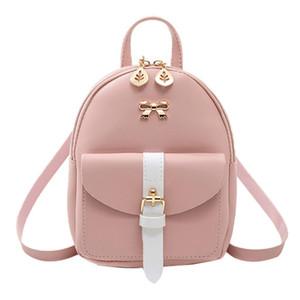 2020 Nova PU couro Kawaii Backpack bonito bolsa de lona Mini Mochila pequena escola da Graciosa Bagpack Mulheres para meninas Curva-nó