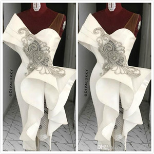 2020 Boncuklu fırfır Kılıf Kısa Parti Balo Elbise Arapça Kolsuz Artı boyutu Kokteyl Elbise ile Beyaz Yeni Saten Abiye