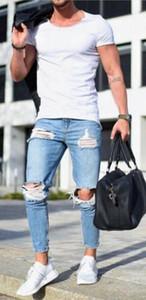 Mens Jeans Skinny Luce Blu Fori Strappato Matita Pantaloni Uomo Slim Fit Pantaloni Lunghi
