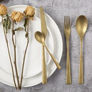 4pcs / set retro Cubiertos Las vajillas vieja vajilla de acero inoxidable 304 Oro Cuchillo Tenedor Cuchara Set Cubiertos Vajillas restaurante