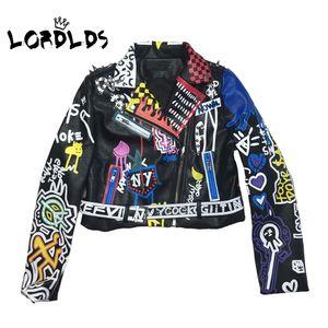 LORDLDS 2019 chaqueta de cuero de las mujeres de la pintada de colores de impresión motorista chaquetas y abrigos PUNK Streetwear de las señoras de la ropa