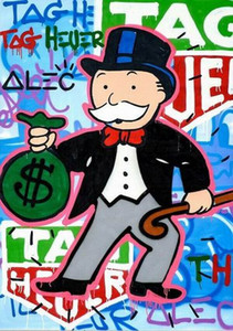 A149 # Alec Monopoly pintado a mano abstracto de la pintada al óleo del arte reloj TAG Pintura en lona Wall Art Decor Hppme Multi tamaños disponibles 2