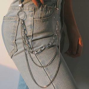 Camada Única / dois / três Belt Chaveiro Punk Hip-hop na moda cintura Cadeia Unisex Calças Jeans longo metal Vestuário Jóias Acessórios