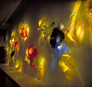 Fantasia Hand Blown Glass Wall Plates Art Projetado Placa Lâmpadas parede de vidro Murano Hotel Wall Decor Art Glass
