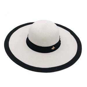 블랙 화이트 작은 꿀벌 비치 모자 새로운 여름 패션 스트리트 모자 여성 조절 모자 여자 모자 2 개 색상 최고 품질에 대한