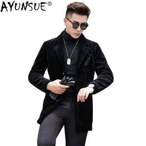 AYUNSUE Men's Fur Coat Long Real Wool Jacket Winter Sheep Shearing Coat Men Casual Blazer 2019 Erkek Mont KJ1602