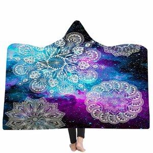 WHQ chaud Couverture capuche Fantaisie géométrique Imprimé hiver épais Couverture souple Throw moderne molleton Tissu Manta con capucha