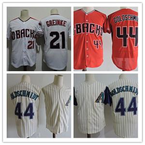 İndirimli Mens Paul Goldschmidt Jersey Dikişli # 21 Zack Greinke # 44 Paul Goldschmidt Arizona 20. Yıldönümü Yama Beyzbol Formaları S-3XL