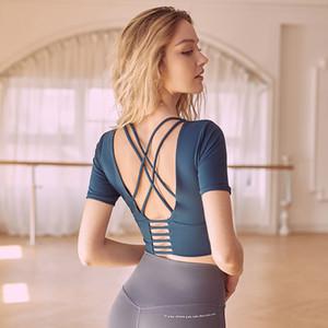 Women Short Sleeve Yoga shirts Padded Inside Network Star Favorite Tight Yoga T-shirt Sexy Back Top Clothing