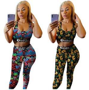Mode Design Femmes Survêtement Sport Soutien-gorge Push Up Gilet + Pantalon Caleçon deux pièces Tenues Tiger Imprimer Maillots de bain Matériel Vêtements de sport