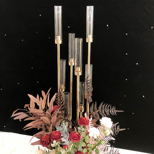 Çiçekler Vazo 8 kafaları Mumluklar arka planında Yol Kurşun Tablo Centrepiece Altın Metal Pillar Mum İçin Düğün Candelabra Standı sahne