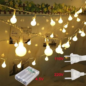 10M 20M 30M LED Ball String Lights 110V 220V Christmas Fairy Garland Outdoor Waterproof For Holiday Party Garden Home Decor Lamp Y200603