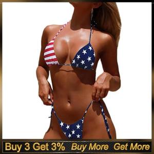 Bandera americana atractiva Eillysevens Imprimir Sexy micro bikini alta corte en la pierna Bikini de dos piezas traje de baño traje de baño para las mujeres