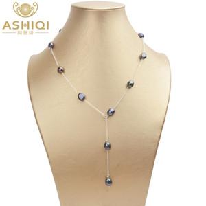 ASHIQI настоящее стерлингового серебра 925 пробы пресноводный жемчуг ожерелье 8-9 мм натуральный жемчуг барокко для женщин старинные ювелирные изделия ручной работы подарок