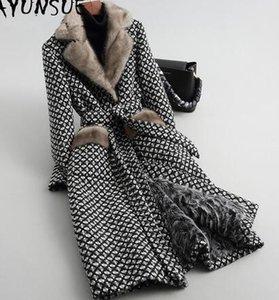 AYUNSUE luxe de fourrure d'agneau Manteau Femme col en fourrure de vison manteau en tweed Veste d'hiver Vêtements femme Woollen Manteaux chaud Veste longue MY