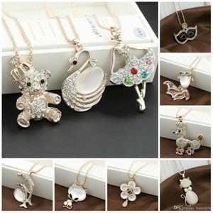 Collares Colgantes Joyas finas Chapado en oro Rhinestone Opal Cisne brillante Collares elegantes Colgantes Collar de cadena larga