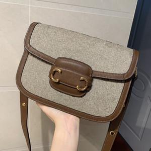 2019 crossbody torba son kadın moda sıcak G 1955 tasarım eyer çanta erkek dişi mektup baskı Omuzlarinda flep çantası horsebit çantası 602204