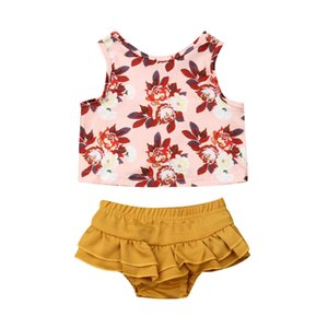 Pudcoco 2019 SUmmer Newborn Baby Kids Girls Flower T shirt+PP Pants Yellow Shorts Outfits Tops Shorts Clothes 2pcs