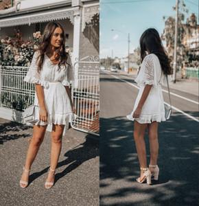 Blanc bohème col en V manches courtes robes de soirée pas cher longueur genou robes de soirée de bal Femmes Beach Cocktail Club Wear Gown 2347