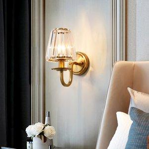 현대 고급스러운 크리스탈 벽 램프 벽 조명기구는 금 벽 현관의 홀 침실 침대 옆 복도에 대한 보루 빛 LED 램프를 탑재