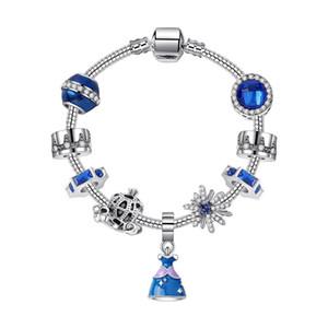 16-21 cm 925 Silber Armband Cinderella Sandy labelle Princess Rock Charms Anhänger Kürbiswagen Perlen für Mädchen Kinder Geschenk DIY Schmuck