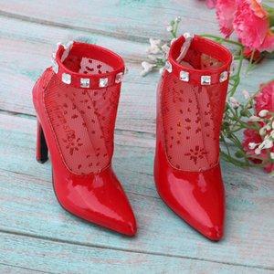 Модные ботильоны 1/3 BJD высокие каблуки для Ночи Lolita DOD LUTS Doll PU Leather Red Stiletto Shoes