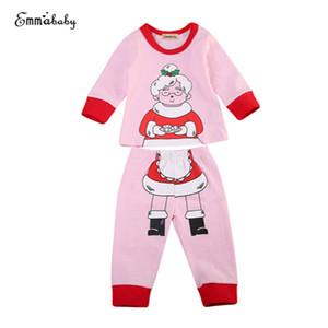 Xmas Roupa das Crianças Set Moda Newborn Kid TopsPullover Natal + Pants 2PCS Outfit 2017 New Baby Girl Pijamas Pijamas Set