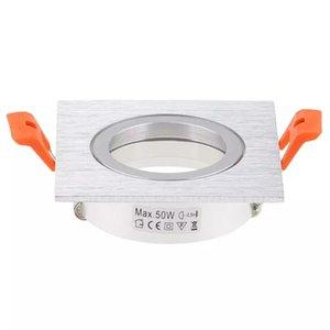 Pleins feux Escova de Prata Quadrado Recesso Para Baixo Luz Ajustável Quadro Para Focos Led Recorte JK0641