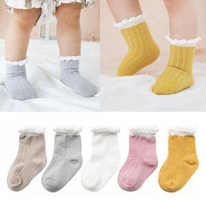 Çocuklar Çorap Bebek Kemiksiz Kat Çorap Bebek Yaz Pamuk Nefes Kabarcık Ağız Footsocks Boys Kız Ev Casual Sevimli Katı Çorap YP243