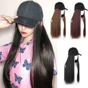 Fashion Women Knit Hat Baseball Cap Wig Straight Long Hair Big Wavy Curly Hair Extensions Girls Beret New Design Simulation Hair Y200102