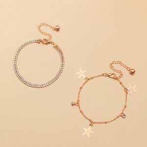 Bohemia Gold Color Starfish Rhinestone Anklet for Women Ankle Bracelet on Leg 2020 Fashion Beach Foot Chain Jewelry