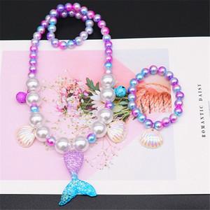 Bambini Mermaid Necklace Set braccialetto della perla Shell Pendant Clip Orecchio Anello Mermaid Cosplay per bambini delle ragazze del regalo dei monili HHA1074
