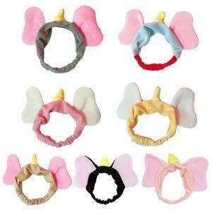 Japonaise Femmes Filles douce peluche Cartoon bandeau mignon éléphant volant oreilles larges Hairband contraste en peluche Couleur Nettoyant Visage Turban