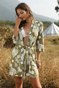 Para mujer de diseño de la impresión floral camisas casual de colores naturales de la playa Blusas Moda gasa media manga Tops Ropa para Mujer