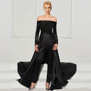 Мода Black Lace Комбинезоны Вечерних платья со съемным поездом с плечом бисера Формального платьев с длинными рукавами блесток платья