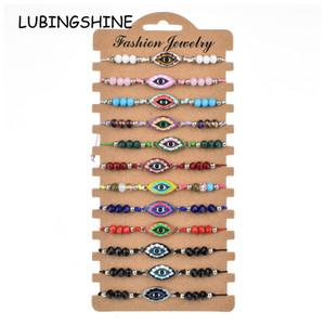 Boho 12pcs / Sets Evil Eye braccialetto intrecciato per le donne Bambino Crystal Bead smalto Multi corda regolabile catena cavigliera Yoga gioielli