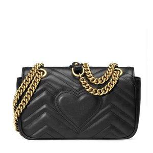 Высокое качество дизайнера GG Женская мода натуральная кожа Marmont сумки на ремне сумки 443497 Кошелек с номерами серии Box