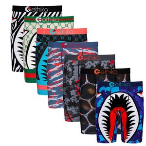 2020 Nova Ethika Boxers Men Underwear tubarão Boca Boxer Men Underwear Homme Todos os dias Boxers resistentes Arrefecer Sports Calças Curtas