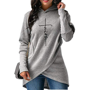 Мода-Женщины Нерегулярное свитер с капюшоном Новый конструктор с длинными рукавами Вышитые женские осенние Зима Роскошные Одежда Плюс Размер S-3XL
