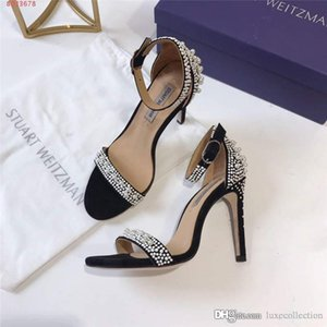 2020 latest dress shoes Inlay Pearl women sandals, High-heeled sandals with Lace-up toes ,Heel-height 10 cm