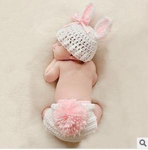 Crochet manuel Bébé Laine Photographie Servir Fils de fils biologiques Tissage de bébé Chapeau de lapin Cent jours anniversaire de la photographie