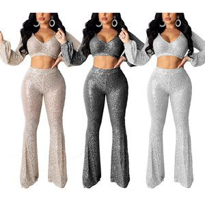 Shinny Two Piece Set Women Tracksuit Sets Clothes CHEAPEST 2 Piece Pants Set Women F0341 Full Length Flare Leg