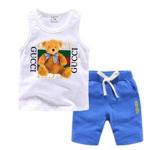 El bebé bebé ropa de diseño niños pequeños Establece 2-7T Childrens 2pcs / juegos de las muchachas de puro algodón Logo impresión de la letra Conjuntos de verano