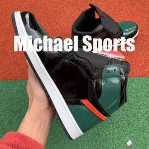 Solefly Preto Verde Miami Store Limitada TOP Versão de Fábrica 1 Novo 2019 Sapatos de Basquete dos homens Sapatilhas Sapatilhas de Couro com Caixa