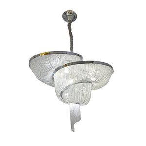 Moden Luxury Aluminum Tassel Chandelier Restaurant Bar Villa Hotel Home Stream Suspension Chain Pendant Lamp New PA0029
