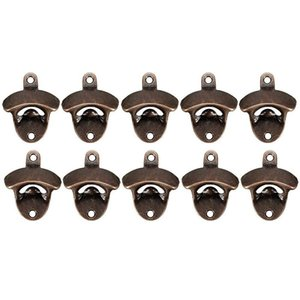 HOT 10 Pack Bottle Opener Wall Mounted Rustic Beer Opener Set Vintage Look with Mounting Screws for Kitchen Cafe Bars