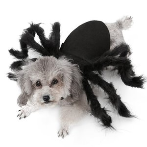 Halloween Pet Spider Clothes Puppy Plush Spider Cosplay Costume For Dogs Cats Party Cosplay Funny Outfit Simulation Black